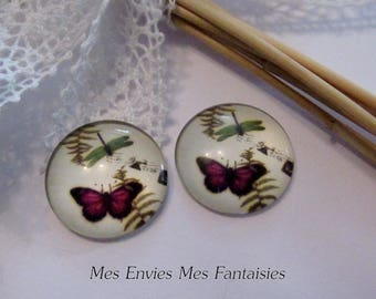 1 illustrated 25mm C439 Purple Butterfly glass dome cabochon