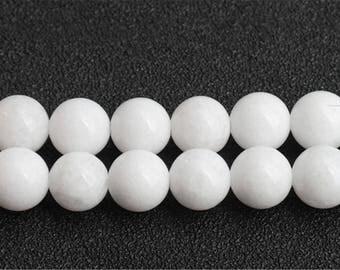 Solid White Chalcedony beads - 15'' Full Strand Gemstone Chalcedony beads - Genuine Natural Stone bead - 4mm 6mm 8mm 10mm 12mm 14mm - B212