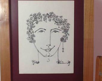 Hombre joven 11,dibujo hecho a mano con tinta negra sobre papel sin ácido