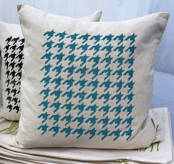 Organic throw pillow cover with houndstooth, 18 inch, custom colors available, cottage gift, home decor, throw pillow, outdoor pillow