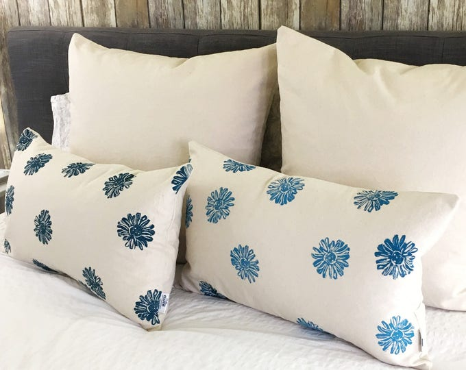 Organic pillow set: Handprinted covers shades of blue pillowcases, eco-friendly accent pillows modern farmhouse blue decor, fresh clean look