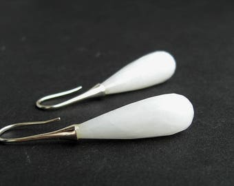 Kascholong earrings, white drops earrings, 925 silver, bridal earrings, sterling silver, long drops