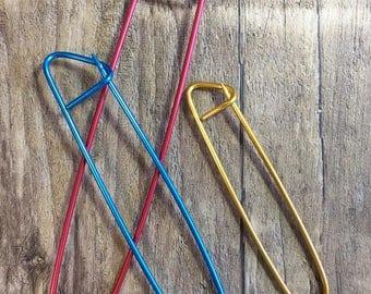3 Stitch Holders, Knitting Tools, Aluminum Small Medium and Large