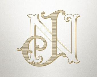 Interlocking Wedding Monogram - JN NJ - Wedding Monogram - Vintage
