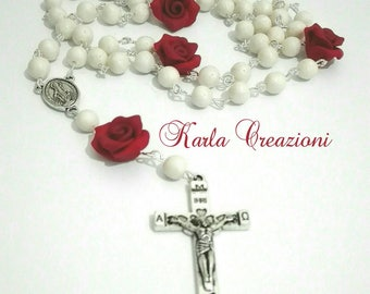 Rosario Girls women Christian Catholic Religious Pearls Red roses Faith cute Valentine