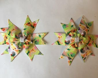 set of 2 Tinkerbell hair clips, my little pony, Doc Mcstuffins, sweetheart, cartoon hair bows, children's hair accessory