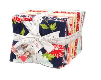 The Good Life Fat Quarter Bundle by Bonnie and Camille from Moda Fabrics, 40 Fat Quarters, Complete Collection, Navy, Red Floral