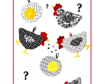 Which Came First?  Chicken Potholders and Oven Mitts Pattern from Sweet Tea Girls, Sewing Pattern, Chicken Pattern