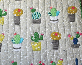 Baby Cactus Quilt Pattern by Barbara Brandeburg for Cabbage Rose, Baby Quilt / Throw Quilt 48in x 56in.
