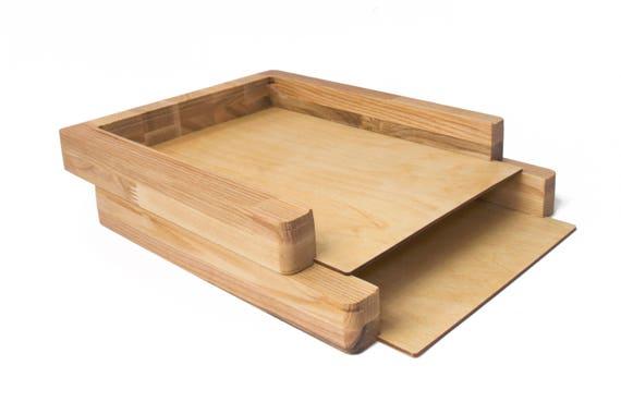 Papier plateau 2 tapes bureau organisateur bois trieur de