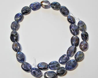Natural Iolite Oval Loose Beads 10 x 8mm, Natural Iolite Beads, Semi precious Gemstone Bead, Full Strand, Wholesale Beads, Purple Beads