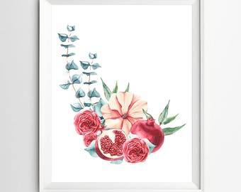 Pomegranate Art Pomegranate Fruit Print Home Decor Poster Print Printable Pomegranate Kitchen Art Digital Art Print Tropical Print