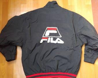 FILA jacket, vintage nylon windbreaker jacket of 90s hip-hop clothing, old school 1990s hip hop, black parka, gangsta rap, size XL