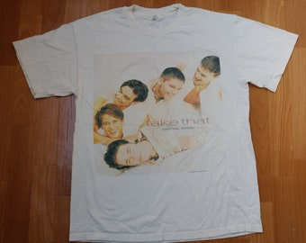 Vintage Take That band t-shirt, 1994 Everything Changes concert tour shirt, authentic merchandise 90s British boyband pop 1990s size L Large