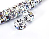 Clear AB Rhinestone Rondelle Spacer 50pcs Per Bag Size 4mm/6mm/8mm/10mm. Sold per Bag For Jewelry Making