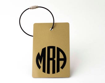 Monogram Luggage Tag - FREE SHIPPING, Gold and Black Personalized Monogram Luggage Tag, Luggage Tag, Custom Luggage Tag, Monogrammed Gifts