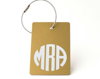 Gold Monogram Luggage Tag - FREE SHIPPING, Gold and White Monogram Luggage Tag, Luggage Tag, Custom Luggage Tag, Custom Gift, Monogram Gift