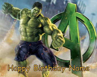 Avengers Incredible Hulk Edible Image Cake Topper Personalized Birthday 1/4 Sheet