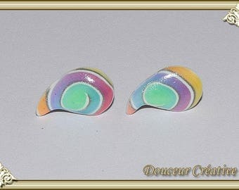 Studs earrings multicolor translucent 104047