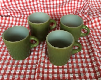 Vintage Avocado Green Fire King Anchor Hocking Set of Four 10 oz Stackable Mugs