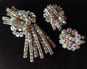 Vintage Continental designer Aurora Borealis rhinestones brooch and earrings set Mid century costume jewelry