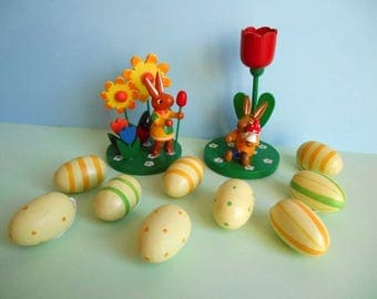 Easter bunnies and eggs / hand painted wood