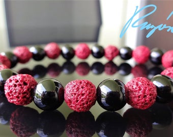 Genuine Black Onyx & Red Volcanic Lava Bead Bracelet for Men on Stretch 8mm AAA Quality