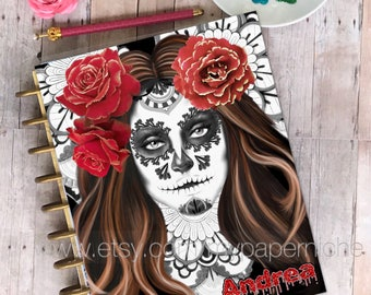 Planner Cover/ Happy Planner/ Erin Condren/ dashboards/ La Catrina/ fan art/Halloween/ PersonalPlanner/ Kiki K