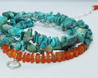 Sterling Silver Heart Charm, Carnelian and Turquoise Wrap Bracelet