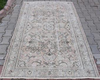 Blumenmuster, Dass Oldtimer Türkische Oushak Teppich Handgeknüpft Gedämpft Pfirsich  Beige Farbe Mittlerer Größe Böhmischen Eklektischen