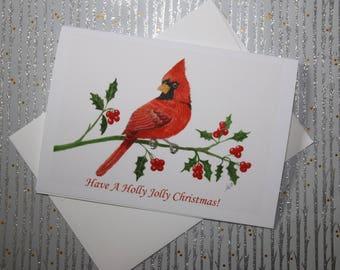 """Cardinal Christmas Card - Holiday Card 5"""" x 7"""" Folded -Cardinal Holiday Card- Cardinal Watercolor Print"""