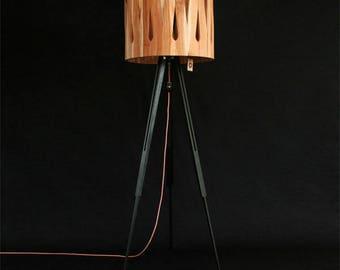 Bintwood handmade wooden standing lamp-Drop teak hood, chestnut wooden leg