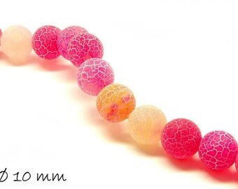 10 pcs matte cracked agate beads, 10 mm, pink