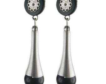 Earring clip black Maasai (made in France)