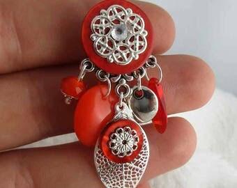 Earrings clip Spring Leaves Orange (made in France)