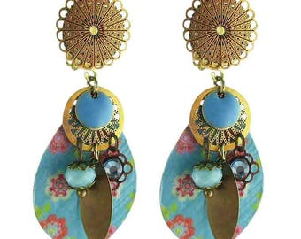 Turquoise Peace and Love clip earrings