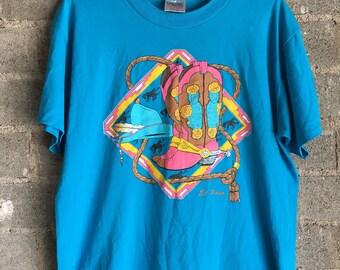 1994 El Paso Texas Neon Cowboy T Shirt  -L-