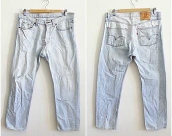 Mens Levis 501 W36 stonewash jeans straight fit leg bleached denim ripped jeans Vintage Levis size Large W36 L36