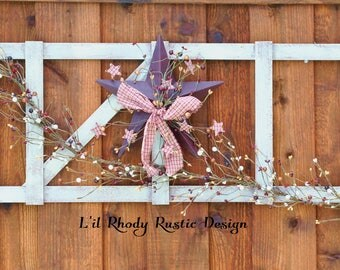Rustic Ladder with Pip Berry Garland -primitive ladder - primitive garland
