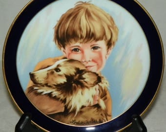 Limited Edition Decorative Plate Timmy and His Best Pal by Louise Forbes Lindnet Kueps Bavaria China Plate No 0535