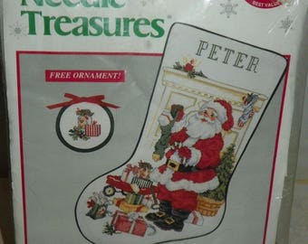 Needle Treasures Christmas Counted Cross Stitch Stocking Kit Santa at Work Number 02890 Vintage Collectible Home Decor Free Ornament New