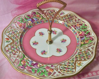 Pretty in Pink-Stunning Handled Pastry Plate