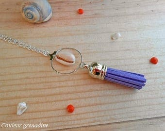 Minimalist long tassel and shell, gift idea necklace party big day, Easter