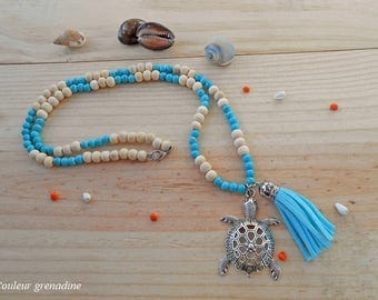 Necklace wooden beads, turquoise beads, Bohemian, turtle and tassel, gift idea for large party day, Easter