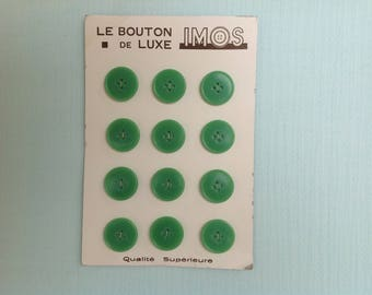 Board of 12 green vintage buttons - buttons - IMOS - set of 12 vintage buttons, vintage-