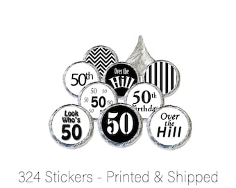 50th Birthday Favors Sticker Decorations Black and White Over the Hill for Hershey Kisses, Favor Bags, Envelope Seals, Candies (Set of 324)
