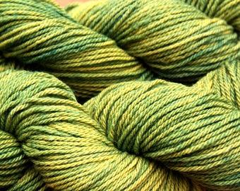 Green plant dyed 100% wool yarn
