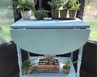 Vintage Teal Wooden Bar Cart ,Kitchen Cart Tea Caddy ,Farmhouse Serving Cart Vintage Wood Tea Cart table breakfast , Boho Serving Cart,Vint