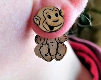 Happy monkey earrings, monkey jewelry