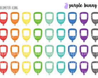 Rainbow Glucometer Icons // Planner Stickers!